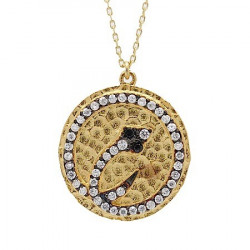 S029. Gold Plated 925 Silver Crystal Snake Pendant