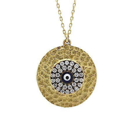S030. Gold Plated 925 Silver Crystal Evil Eye Pendant