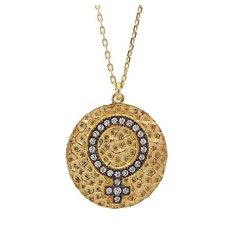 S031. Gold Plated 925 Silver Crystal Female Symbol Pendant