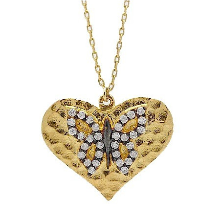 S032. Gold Plated 925 Silver Crystal Heart Shape Butterfly Pendant