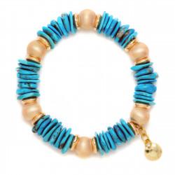 F003-B1B. Italian Sterling Silver & Turquoise Rocks Fashion Bracelet