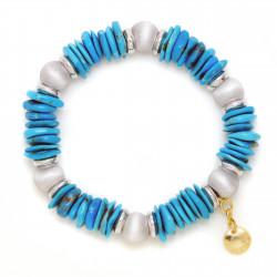 F003-B1C. Italian Sterling Silver & Turquoise Rocks Fashion Bracelet