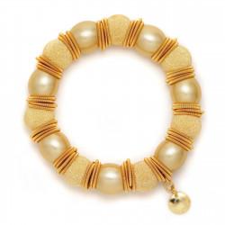 F005-B2A. Italian Sterling Silver & Pearls Fashion Bracelet