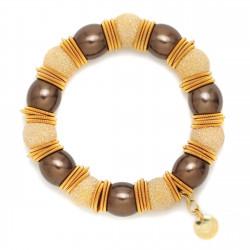 F005-B2B. Italian Sterling Silver & Pearls Fashion Bracelet