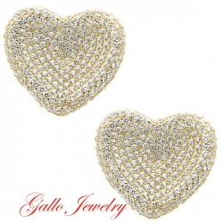 S042. Sterling Silver Crystals Heart Earrings