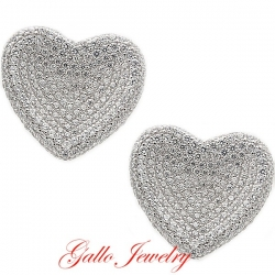 S043B. Sterling Silver Crystals Heart Earrings